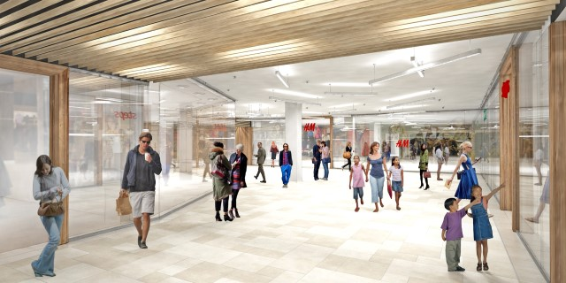Artists Impression nieuwe passage H&M